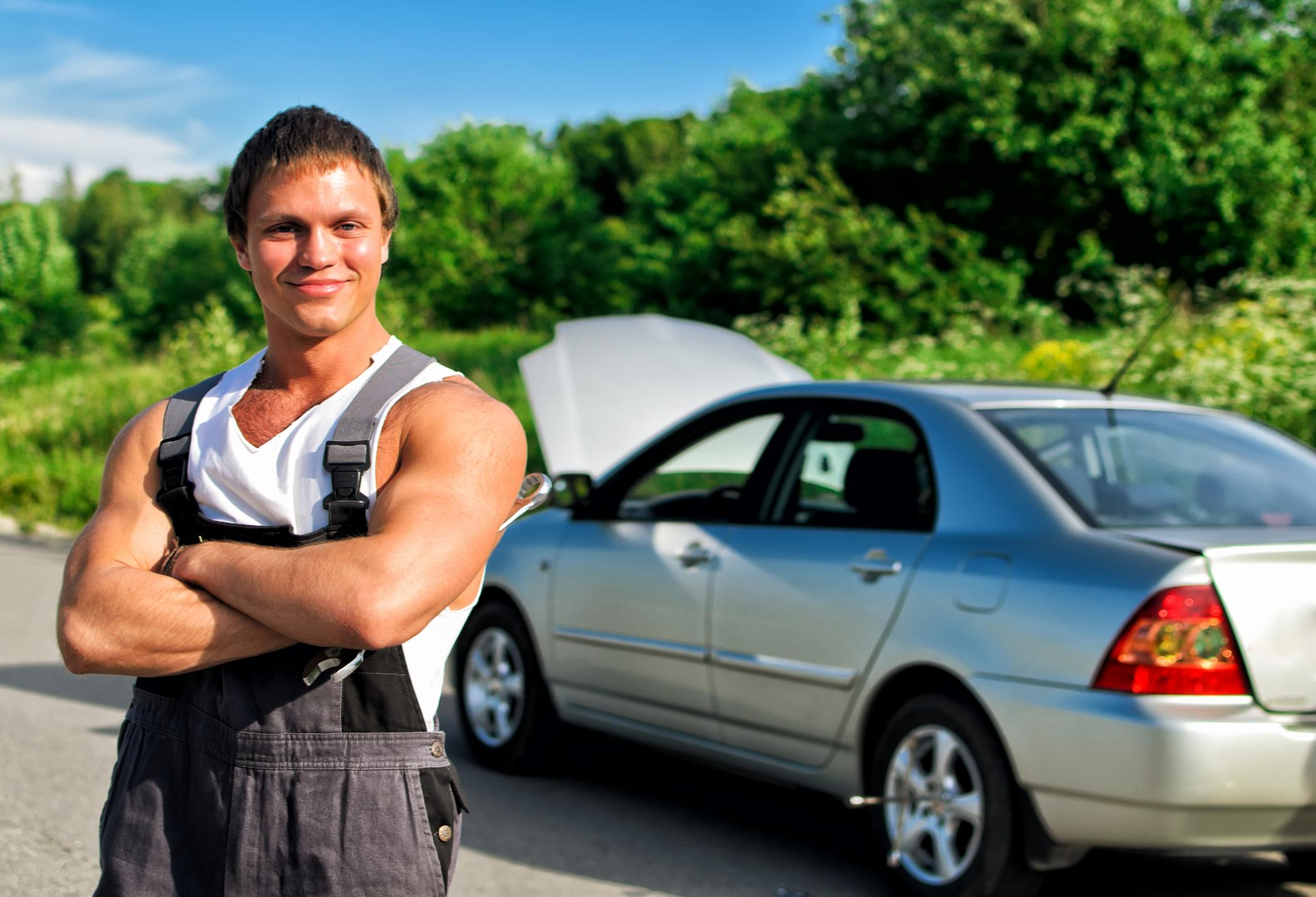 This is a picture of a tow truck repair service.