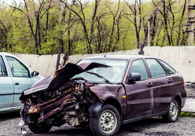 This is a picture of a car accident.
